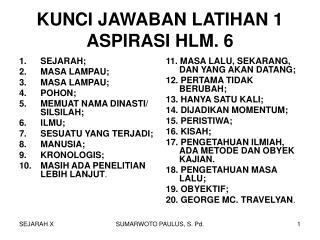 KUNCI JAWABAN LATIHAN 1 ASPIRASI HLM. 6