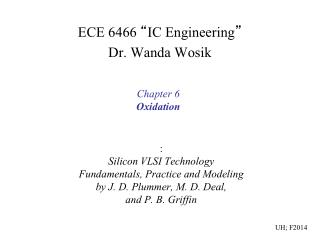 "ECE 6466  "" IC Engineering "" Dr. Wanda Wosik"