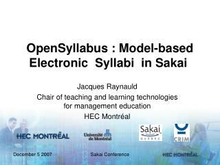 OpenSyllabus : Model-based Electronic Syllabi in Sakai