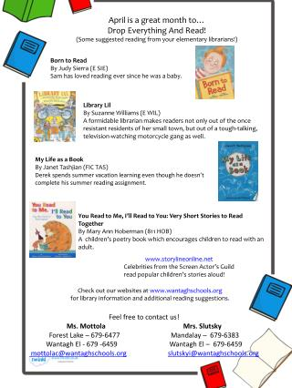 April is a great month to… Drop Everything And Read!
