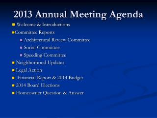2013  Annual  Meeting  Agenda