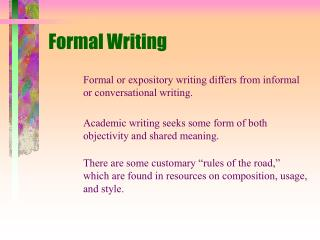 Formal Writing