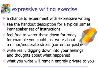Expressive writing exercise