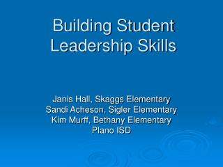 Building Student  Leadership Skills