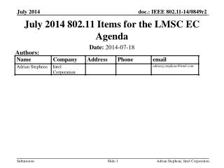 July 2014 802.11 Items for the LMSC EC Agenda