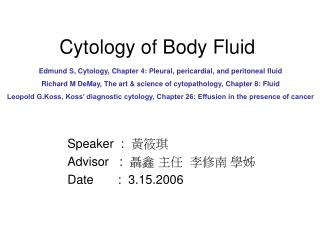 Cytology of Body Fluid