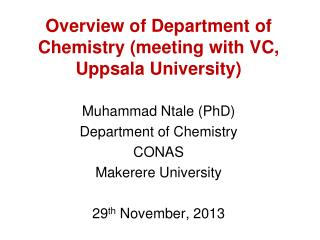 Overview of Department of Chemistry (meeting with VC, Uppsala University)