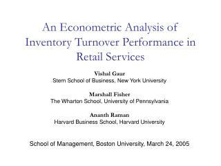 An Econometric Analysis of Inventory Turnover Performance in Retail Services