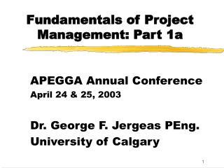 Fundamentals of Project Management: Part 1a