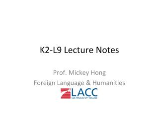 K2-L9 Lecture Notes