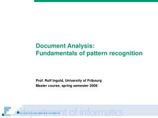 Document Analysis: Fundamentals of pattern recognition