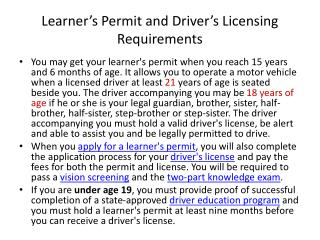 Learner's Permit and Driver's Licensing  Requirements