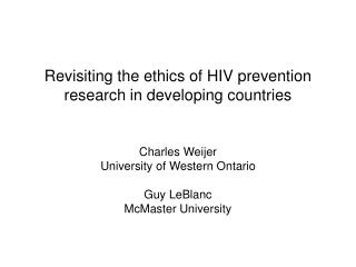 Revisiting the ethics of HIV prevention research in developing countries