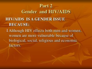 Part 2 Gender  and HIV/AIDS