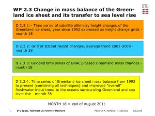 WP 2.3 Change in mass balance of the Green- land ice sheet and its transfer to sea level rise