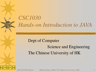 CSC1030 Hands-on Introduction to JAVA