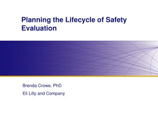 Planning the Lifecycle of Safety Evaluation