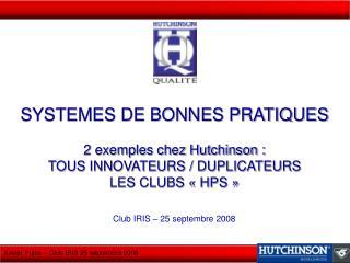 SYSTEMES DE BONNES PRATIQUES