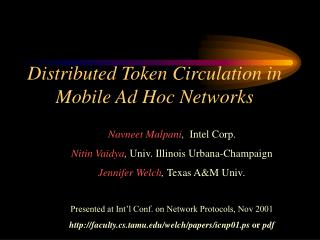 Distributed Token Circulation in Mobile Ad Hoc Networks