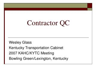Contractor QC