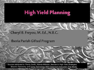 High Yield Planning