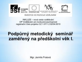 Podpůrný metodický  seminář  zaměřený na předškolní věk I.  Mgr. Jarmila  Fraiová