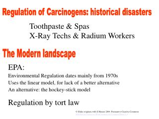 Regulation of Carcinogens: historical disasters