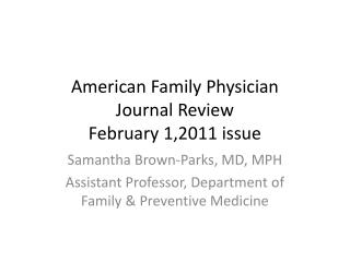 American Family Physician Journal Review February 1,2011 issue