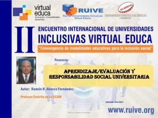 Aprendizaje/evaluación y  responsabIlidad social  universitaria