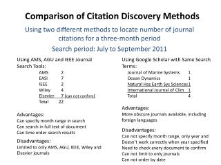 Comparison of Citation Discovery Methods