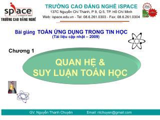GV. Nguyễn Thanh Chuyên              Email: ntchuyen@gmail