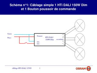 Schéma n°1: Câblage simple 1 HTi DALI 150W Dim  et 1 Bouton poussoir de commande