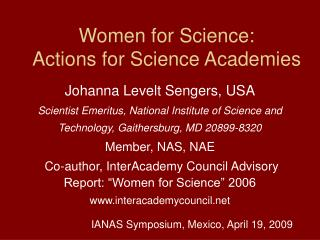 Women for Science: Actions for Science Academies