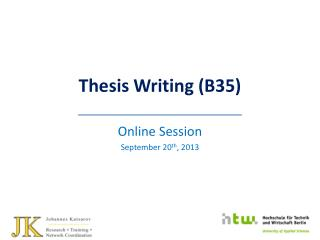 Thesis Writing (B35)