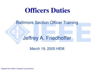 Officers Duties