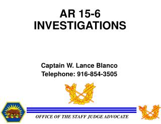AR 15-6 INVESTIGATIONS