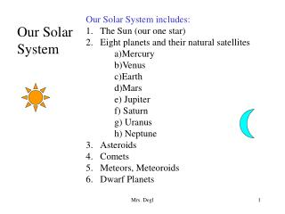 Our Solar System includes: The Sun (our one star) Eight planets and their natural satellites
