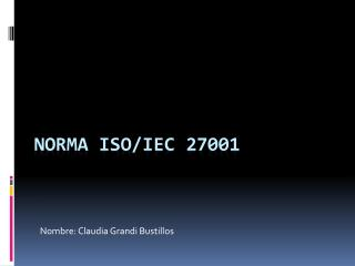 Norma  iso / iec  27001