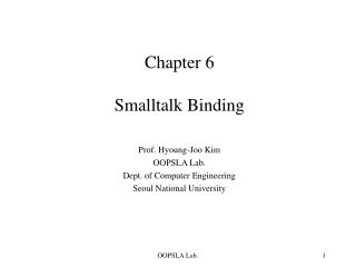 Chapter 6 Smalltalk Binding