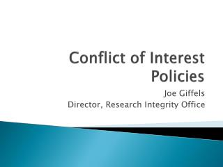 Conflict of Interest Policies
