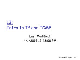 13:  Intro to IP and ICMP