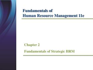 Chapter  2 Fundamentals of Strategic HRM