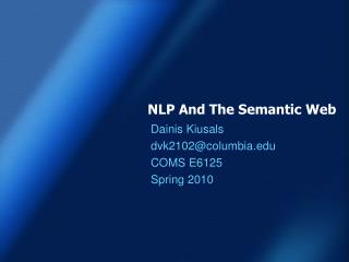 N LP And The Semantic Web