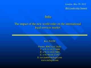 India  The impact of the new world order on the international legal services market
