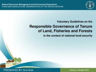 Natural Resources Management and Environment Department