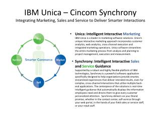 Unica : Intelligent Interactive  Marketing