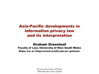 Asia-Pacific developments in  information privacy law  and its interpretation