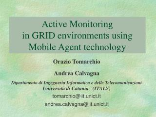 Active Monitoring  in GRID environments using Mobile Agent technology