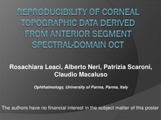Reproducibility of corneal topographic data derived from anterior segment spectral-domain OCT