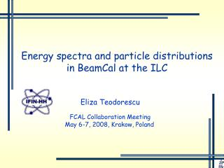 Energy spectra and particle distributions in BeamCal at the ILC